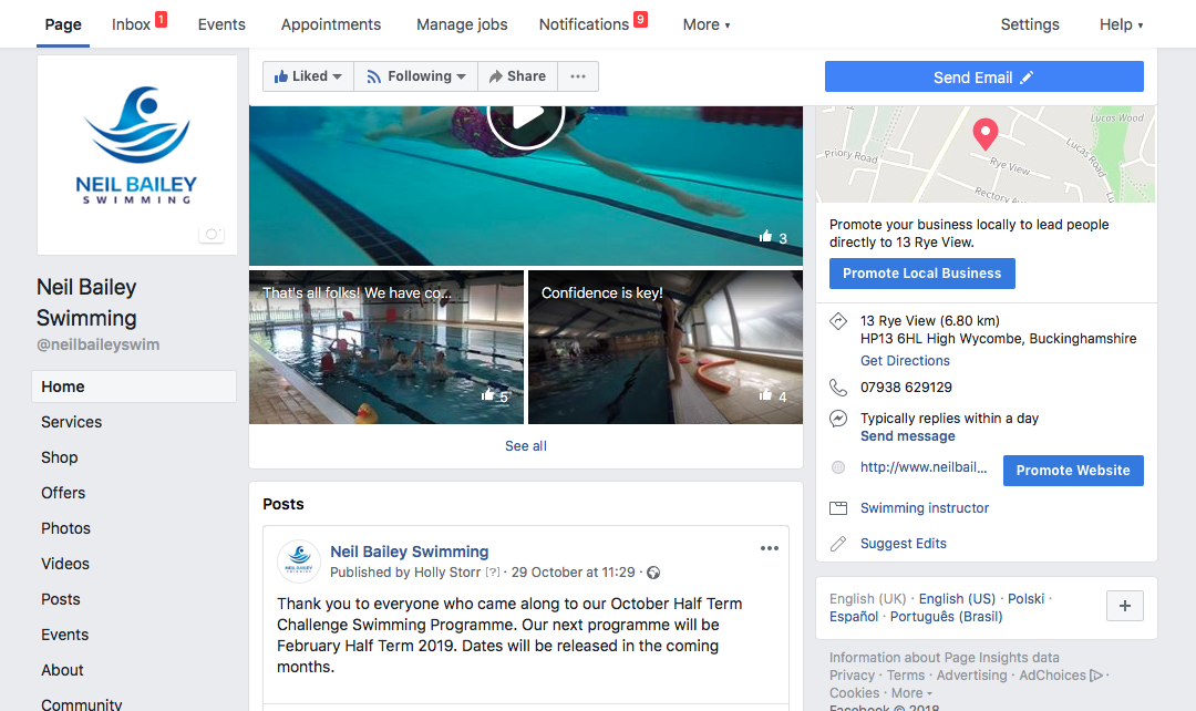 Neil Bailey Swimming Social Media Pages